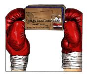credit card held by boxing gloves