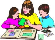 mother making a family scrapbook journal with children