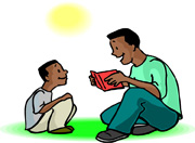 father and son reading story