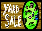 yard sale sign and decorator home furnishings